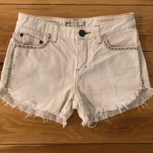 Free People White Frayed Denim Shorts